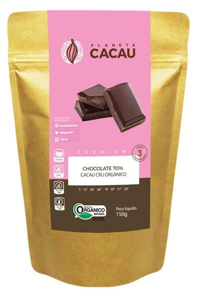 Chocolate Vegano 70% Cacau Cru Orgânico e Premium 150g - Planeta Cacau