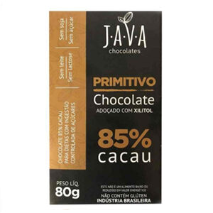 Chocolate 85% Cacau com xilitol Primitivo 80g - Java
