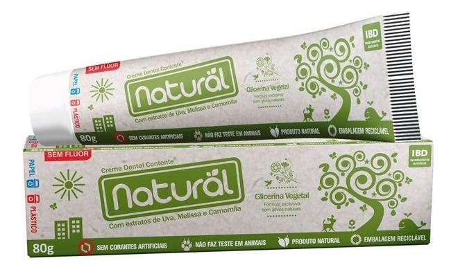 Pasta ou Creme Dental Natural Sem Flúor - 80g - Contente - Contente Natural