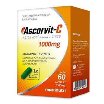 Ascorvit C - Vitamina C e Zinco 1000mg 60 Cápsulas - Maxinutri