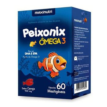 Ômega 3 Infantil Bala Mastigável Rico em DHA e EPA Sabor Cereja Peixonix 60 Capsulas - Maxinutri