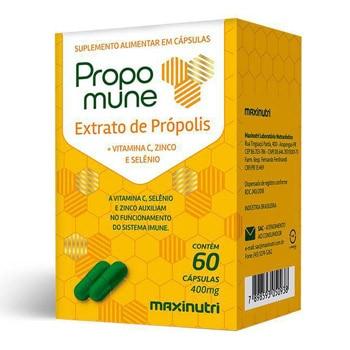 Propomune Extrato de Própolis, Vit. C e Zinco 60 Cápsulas 400mg - Maxinutri